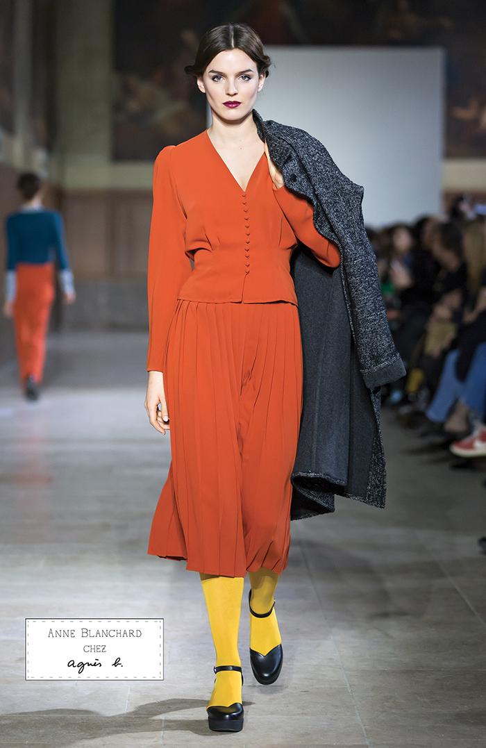 manteau en laine chiné noir et blanc réversible chemise et longue jupe  plissée en polyester orange. FASHION SHOW 4081d282536f
